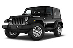 Stock pictures of low aggressive front three quarter view of a 2014 Jeep Wrangler Rubicon 5 Door SUV