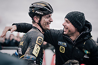 a super happy team manager Sven Nys congratulating Toon Aerts (BEL/Telenet Fidea Lions) after him becoming the new Belgian National CX Champion<br /> <br /> Elite Men's Race<br /> Belgian National CX Championschips<br /> Kruibeke 2019