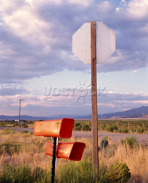 Mail boxes and stop sign