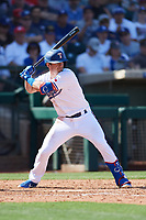 Nick Solak (15) of the Texas Rangers at bat during a Cactus League Spring Training game against the Los Angeles Dodgers on March 8, 2020 at Surprise Stadium in Surprise, Arizona. Rangers defeated the Dodgers 9-8. (Tracy Proffitt/Four Seam Images)