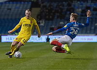 Fleetwood Town's Glenn Whelan (left) about to be tackled by Portsmouth's Cameron McGeehan (right) <br /> <br /> Photographer David Horton/CameraSport<br /> <br /> The EFL Sky Bet League One - Portsmouth v Fleetwood Town - Tuesday 10th March 2020 - Fratton Park - Portsmouth<br /> <br /> World Copyright © 2020 CameraSport. All rights reserved. 43 Linden Ave. Countesthorpe. Leicester. England. LE8 5PG - Tel: +44 (0) 116 277 4147 - admin@camerasport.com - www.camerasport.com