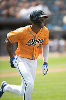 Akron RubberDucks outfielder Will Benson (29) runs to first base on June 27, 2021 against the Erie SeaWolves at Canal Park in Akron, Ohio. (Andrew Woolley/Four Seam Images)