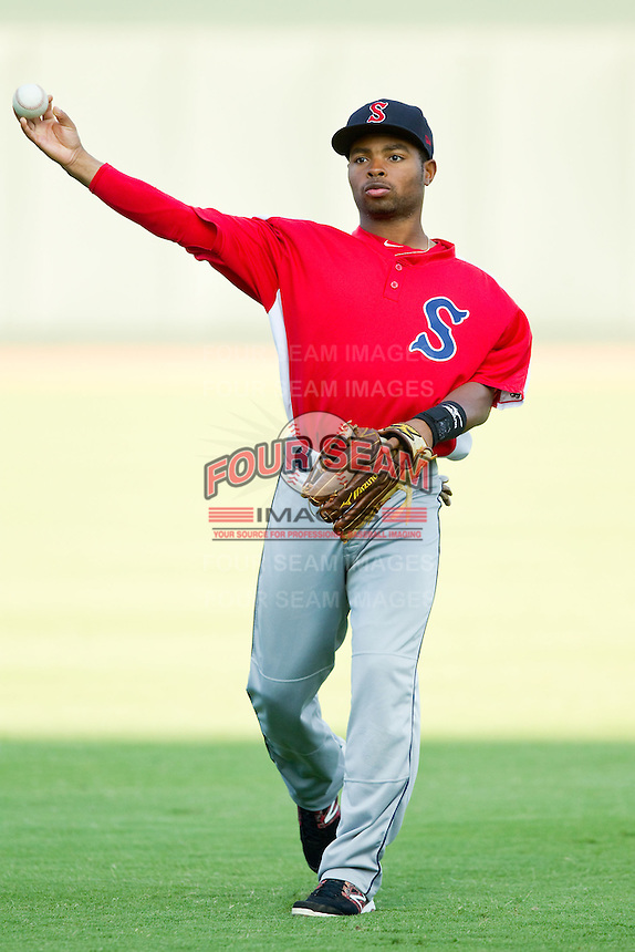 Mookie Betts (16) of the Salem Red Sox warms up in the outfield prior to the game against the Winston-Salem Dash at BB&T Ballpark on August 15, 2013 in Winston-Salem, North Carolina.  The Red Sox defeated the Dash 2-1.  (Brian Westerholt/Four Seam Images)