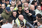 """© Joel Goodman - 07973 332324 . 11/06/2017 . Manchester , UK . TOMMY ROBINSON and KEVIN CARROLL . Demonstration against Islamic hate , organised by former EDL leader Tommy Robinson's """" UK Against Hate """" and opposed by a counter demonstration of anti-fascist groups . UK Against Hate say their silent march from Piccadilly Train Station to a rally in Piccadilly Gardens in central Manchester is in response to a terrorist attack at an Ariana Grande concert in Manchester , and is on the anniversary of the gun massacre at the Pulse nightclub in Orlando . Photo credit : Joel Goodman"""