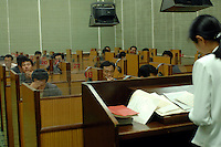 "Students recieve English language lessons in the People's Palace of Education, Pyongyang, North Korea. The ""Palace"" is the library and place of learning for privileged North Koreans."