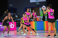 NZ A's Kimiora Poi and Claire Kersten (right) in action during the Cadbury Netball Series match between NZ A and NZ Under-21 at the Fly Palmy Arena in Palmerston North, New Zealand on Saturday, 24 October 2020. Photo: Dave Lintott / lintottphoto.co.nz