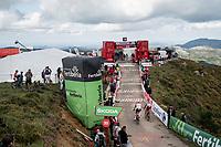 Tomasz Marczynski (POL/Lotto-Soudal) & Daniel Navarro (ESP/Katusha - Alpecin) at the finish after climbing the extremely brutal Alto de los Machucos <br /> <br /> Stage 13: Bilbao to Los Machucos / Monumento Vaca Pasiega (166km)<br /> La Vuelta 2019<br /> <br /> ©kramon