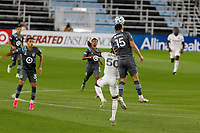 ST PAUL, MN - SEPTEMBER 06: Sam Johnson #50 of Real Salt Lake and Michael Boxall #15 of Minnesota United FC battle for the header during a game between Real Salt Lake and Minnesota United FC at Allianz Field on September 06, 2020 in St Paul, Minnesota.
