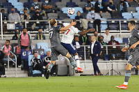 SAINT PAUL, MN - MAY 12: Chase Gasper #77 of Minnesota United FC battles for the ball during a game between Vancouver Whitecaps and Minnesota United FC at Allianz Field on May 12, 2021 in Saint Paul, Minnesota.