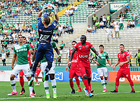 PALMIRA - COLOMBIA, 06-08-2017: Alvaro Villete, arquero de Patriotas, en acciín durante el partido entre el Deportivo Cali y Patriotas FC por la fecha 6 de la Liga Aguila II 2017 jugado en el estadio Palmaseca de Cali. / Alvaro Villete, goalkeeper of Patriotas, in action during the match between Deportivo Cali and Patriotas FC for the date 6 of the Aguila League II 2017 played at Palmaseca stadium in Cali.  Photo: VizzorImage/ Nelson Rios /Cont