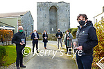 """Book Launch: North Kerry Literary Trust's launch of Kay Caball's book """" The Fall of the Fitzmaurices"""", the story of  the former Lords of Kerry demise outside the ancestral castle of the Fitzmaurice's -  Listowel Castle the last bastion that stood against the forces of Queen Elizabeth in 1600. L- R: Liam Dooley, Jimmy Deenihan, Ciara Casey, Paul Shannon, Brenda Woulfe & Cllr. Jimmy Moloney, representing his aunt Kay Caball."""