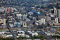 aerial photograph of the Fresno, California skyline