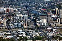 aerial photograph of the Fresno, California skyline