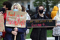 People protest outside Downing Street after government MPs voted not to pay for school meals. Whitehall, London on Saturday October 24th 2020<br /> <br /> Photo by Keith Mayhew