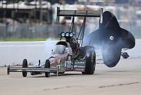 May 20, 2017; Topeka, KS, USA; NHRA top fuel driver Scott Palmer during qualifying for the Heartland Nationals at Heartland Park Topeka. Mandatory Credit: Mark J. Rebilas-USA TODAY Sports