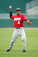 Mallex Smith (3) of the Fort Wayne TinCaps warms up in the outfield prior to the game against the Lansing Lugnuts at Cooley Law School Stadium on June 5, 2013 in Lansing, Michigan.  The TinCaps defeated the Lugnuts 8-5.  (Brian Westerholt/Four Seam Images)