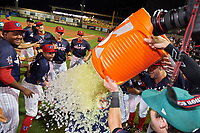 Daytona Tortugas Gavin LaValley (32) is doused with Gatorade by teammate Chris Okey after receiving the Most Valuable Player Award for the Florida State League All-Star Game on June 17, 2017 at Joker Marchant Stadium in Lakeland, Florida.  Jose Taveras, Drew Stankiewicz, Cole Irvin, Austin Riley, and Alex Jackson (L-R) look on.  FSL North All-Stars  defeated the FSL South All-Stars  5-2.  (Mike Janes/Four Seam Images)