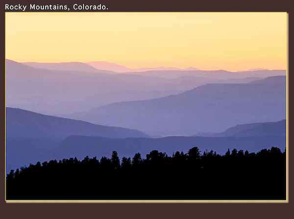 Shooting into the sun at sunset. Backlit mountains, sunset, Rocky Mountains, Colorado.