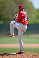 Philadelphia Phillies pitcher Adonis Medina (25) delivers a pitch during a minor league Spring Training game against the Pittsburgh Pirates on March 24, 2017 at Carpenter Complex in Clearwater, Florida.  (Mike Janes/Four Seam Images)