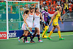 The Hague, Netherlands, June 07: Kim Lammers #23 of The Netherlands celebrates with Kelly Jonker #10 and Lidewij Welten #12 of The Netherlands after scoring during the field hockey group match (Group A) between Australia and The Netherlands on June 7, 2014 during the World Cup 2014 at Kyocera Stadium in The Hague, Netherlands. Final score 0-0 (0-2) (Photo by Dirk Markgraf / www.265-images.com) *** Local caption ***