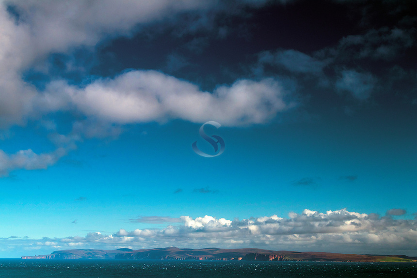 The Pentland Firth and the Orkney Islands of Hoy and Mainland from Dunnet Head, mainland Britain's northernmost point, Caithness