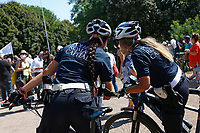 Traffic wardens on bikes during a picnic at Caffarella park, in occasion of the election campaign for the new mayor of the city.<br /> Rome (Italy), September 12th 2021<br /> <br /> Photo Samantha Zucchi Insidefoto