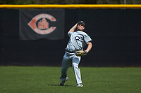 Catawba Indians right fielder Lee Poteat (26) throws the ball back to the infield during the game against the Queens Royals during game one of a double-header at Tuckaseegee Dream Fields on March 26, 2021 in Kannapolis, North Carolina. (Brian Westerholt/Four Seam Images)