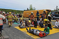 Montreal (Qc) Canada -Accident simulation on a highway north of Montreal