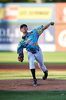 Idaho Falls Chukars starting pitcher Anthony Veneziano (49) delivers a pitch during a Pioneer League game against the Missoula Osprey at Melaleuca Field on August 20, 2019 in Idaho Falls, Idaho. Idaho Falls defeated Missoula 6-3. (Zachary Lucy/Four Seam Images)
