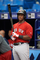 Boston Red Sox Jerry Downs (20) during an instructional league game against the Tampa Bay Rays on September 24, 2015 at Tropicana Field in St Petersburg, Florida.  (Mike Janes/Four Seam Images)