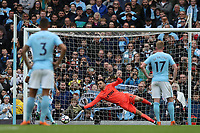 Lukasz Fabianski of Swansea City saves the penalty of Gabriel Jesus during the Premier League match between Manchester City and Swansea City at the Etihad Stadium, Manchester, England, UK. Sunday 22 April 2018