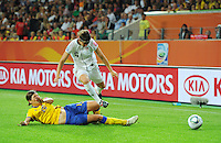 Amy Le Peilbet (r) of team USA and Linda Forsberg of team Sweden during the FIFA Women's World Cup at the FIFA Stadium in Wolfsburg, Germany on July 6thd, 2011.