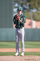 Oakland Athletics pitcher Brian Howard (75) during Spring Training Camp on February 24, 2018 at Lew Wolff Training Complex in Mesa, Arizona. (Zachary Lucy/Four Seam Images)