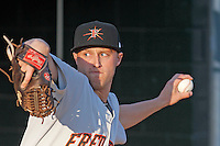 Frederick Keys pitcher Mitch Horacek (27) in the bullpen  before a game against the Myrtle Beach Pelicans at Ticketreturn.com Field at Pelicans Ballpark on April 7, 2016 in Myrtle Beach, South Carolina. Myrtle Beach defeated Frederick 5-2. (Robert Gurganus/Four Seam Images)
