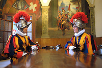 Pontifical Swiss Guard,barracks..The Corps of the Pontifical Swiss Guard or Swiss Guard,Guardia Svizzera Pontificia,responsible for the safety of the Pope, including the security of the Apostolic Palace. It serves as the de facto military of Vatican City..Pope Benedict XVI arrives to celebrate a Mass in memory of the late Pope John Paul II on the second anniversary of his death, at St. Peter's Basilica at the Vatican, Monday, April 2, 2007. Roman Catholics marked the second anniversary of Pope John Paul II's death Monday with vigils in his native Poland and a ceremony earlier in Rome to seal shut - with red ribbons and wax - documents on the pope's life that are vital to making him a saint..06/05/2009