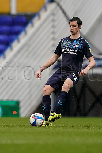 20th February 2021; St Andrews Stadium, Coventry, West Midlands, England; English Football League Championship Football, Coventry City v Brentford; Dominic Hyam of Coventry City passes the ball across the back in defence