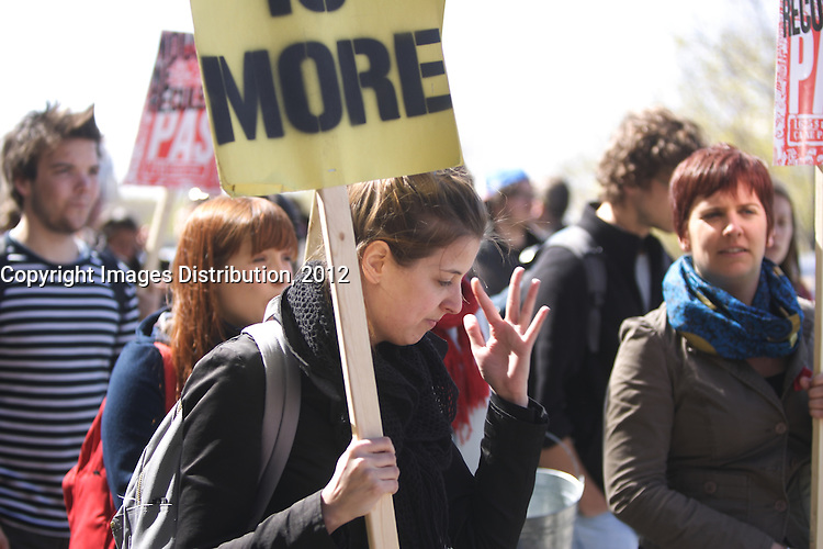 Montreal (QC) CANADA - April 17 2012 - Quebec students on strike againt tuition fee increase march in Montreal