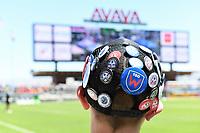 SAN JOSE, CA - JUNE 8: A fan wears a cap bearing San Jose Earthquakes pins during a game between FC Dallas and San Jose Earthquakes at Avaya Stadium on June 8, 2019 in San Jose, California.