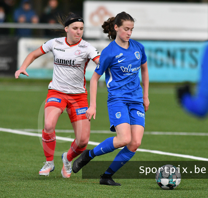 Liesa Capiau (15) of Zulte Waregem and pictured during a female soccer game between  Racing Genk Ladies and SV Zulte-Waregem on the 7 th matchday of play off 2 in the 2020 - 2021 season of Belgian Scooore Womens Super League , friday 14 th of May 2021  in Genk , Belgium . PHOTO SPORTPIX.BE | SPP | JILL DELSAUX