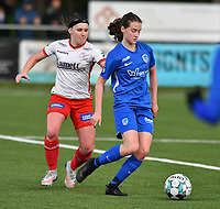 Liesa Capiau (15) of Zulte Waregem and pictured during a female soccer game between  Racing Genk Ladies and SV Zulte-Waregem on the 7 th matchday of play off 2 in the 2020 - 2021 season of Belgian Scooore Womens Super League , friday 14 th of May 2021  in Genk , Belgium . PHOTO SPORTPIX.BE   SPP   JILL DELSAUX