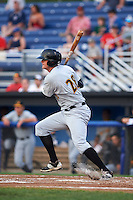 West Virginia Black Bears first baseman Albert Baur (28) at bat during a game against the Batavia Muckdogs on August 31, 2015 at Dwyer Stadium in Batavia, New York.  Batavia defeated West Virginia 5-4.  (Mike Janes/Four Seam Images)