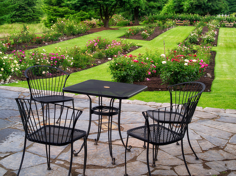 Table and chairs. Heirloom Gardens. St. Paul, Oregon