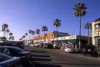 Beautiful tourist town downtown by pier of Newport Beach California US