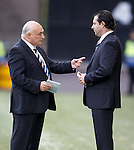 Jim Traynor and Craig Mather having a discussion pre-match