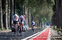 Womens Team Switzerland dropping 1 rider<br /> <br /> Mixed Relay TTT <br /> Team Time Trial from Knokke-Heist to Bruges (44.5km)<br /> <br /> UCI Road World Championships - Flanders Belgium 2021<br /> <br /> ©kramon