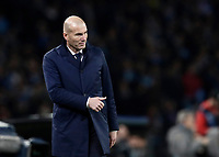 Football Soccer: UEFA Champions League Round of 16 second leg, Napoli-Real Madrid, San Paolo stadium, Naples, Italy, March 7, 2017. <br /> Real Madrid's Zinedine Zidane gesture to his players during the Champions League football soccer match between Napoli and Real Madrid at the San Paolo stadium, 7 March 2017. <br /> Real Madrid won 3-1 to reach the quarter-finals.<br /> UPDATE IMAGES PRESS/Isabella Bonotto