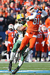 North Dakota State Bison cornerback Andre' Martin Jr. (8) and Sam Houston State Bearkats wide receiver Chance Nelson (81) in action during the FCS Championship game between the North Dakota State Bison and the Sam Houston State Bearkats at the FC Dallas Stadium in Frisco, Texas. North Dakota defeats Sam Houston 39 to 13..