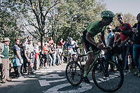 Sep Vanmarcke (BEL/Cannondale-Drapac) up the infamous Muro di Sormano (avg 17%/max 25%)<br /> <br /> Il Lombardia 2017<br /> Bergamo to Como (ITA) 247km