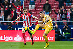 Francisco Aday Benitez (R) of Girona FC fights for the ball with Saul Niguez Esclapez of Atletico de Madrid during the La Liga 2017-18 match between Atletico de Madrid and Girona FC at Wanda Metropolitano on 20 January 2018 in Madrid, Spain. Photo by Diego Gonzalez / Power Sport Images