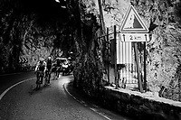 race leaders emerging from a tunnel on their way to the finish<br /> <br /> 76th Paris-Nice 2018<br /> Stage 7: Nice > Valdeblore La Colmiane (175km)